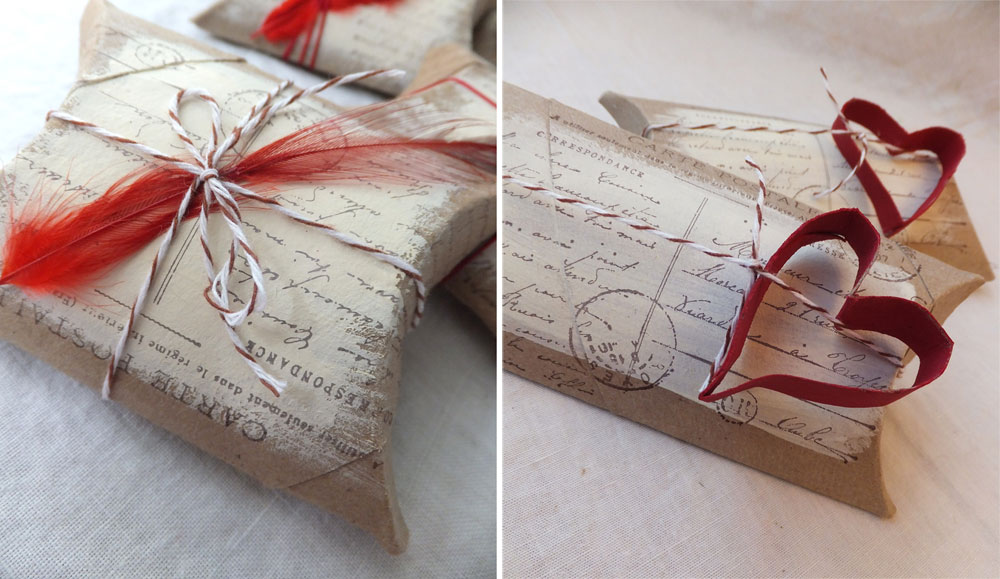 Diseño cálido de cajas almohada. Visto en Art is Medicine