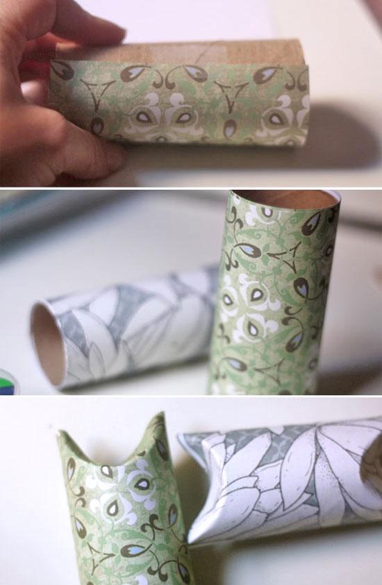 Decoración cajas tubo con papel de regalo. Diseñado por Jessica Christman