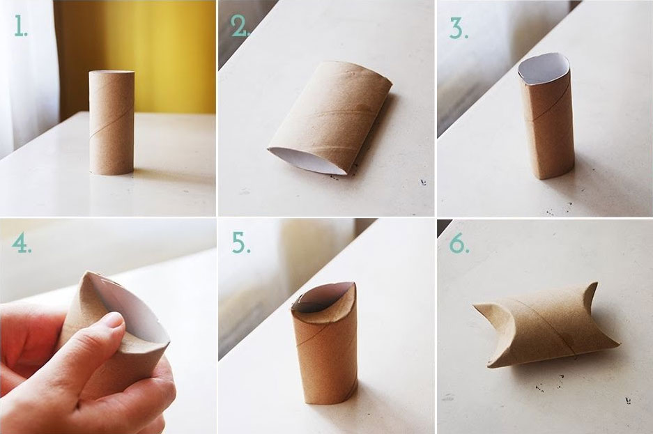 Pasos a seguir para doblar el tubo de cartón. Creado por Otilia