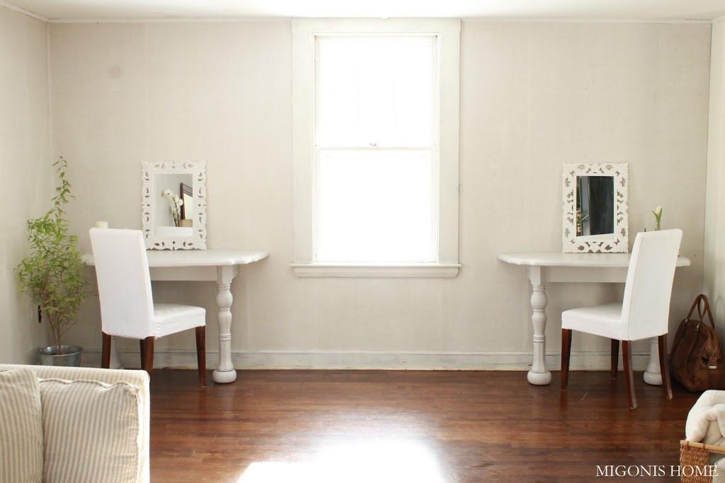 Elegante diseño de Jen Migonis en su proyecto de aprovechar una mesa de comedor.