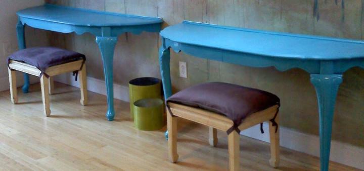 Dos escritorios de pared a partir de una mesa de comedor. Tutorial de Jessa Jane.
